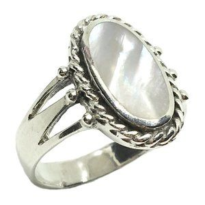 Pearl Inlay Rope Design Ring Sterling Silver 7.25